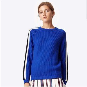 Tory Burch Merino Wool Val Stripe Sleeve Sweater